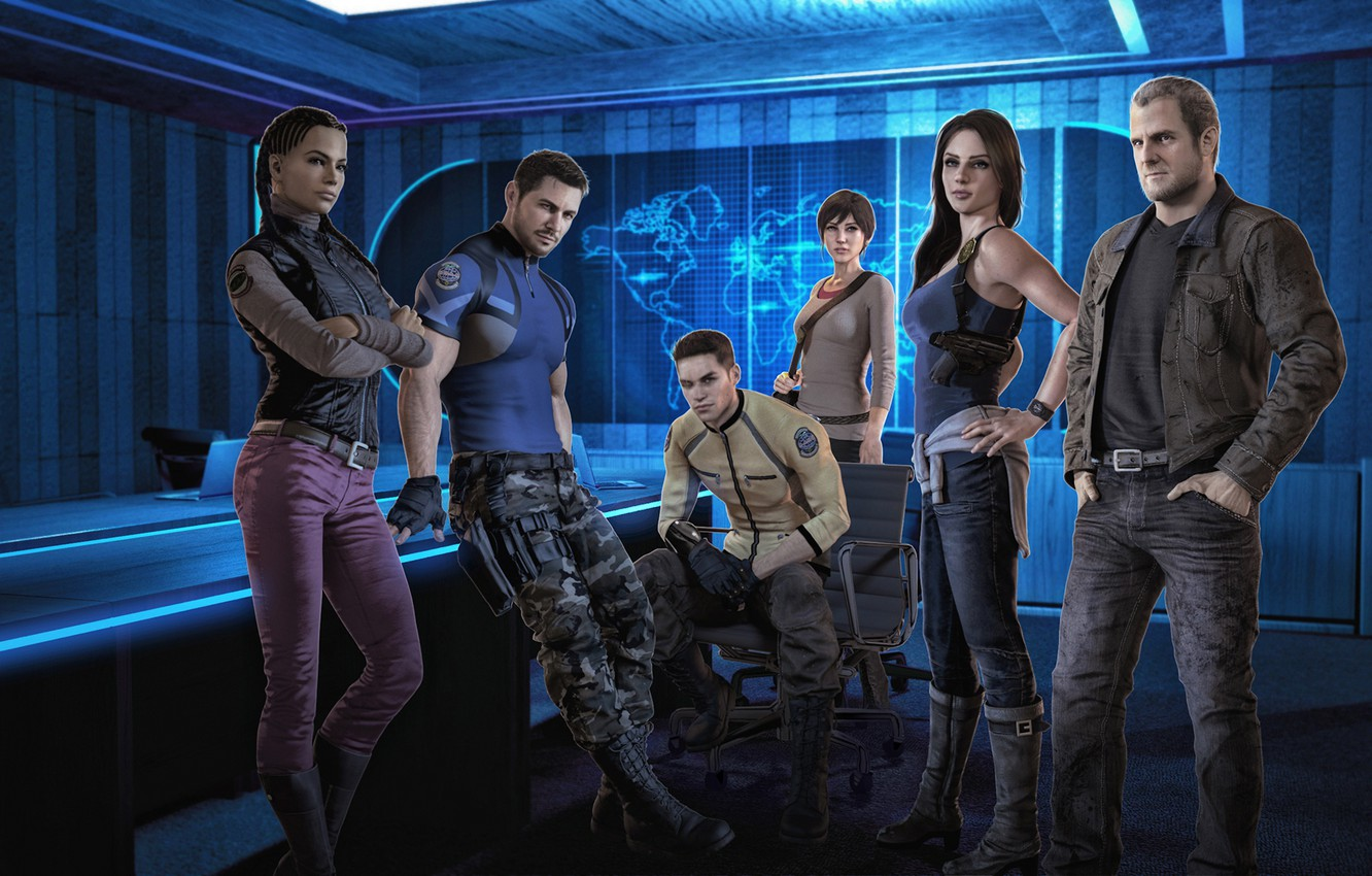 Photo wallpaper resident evil, capcom, jill valentine, sheva alomar, chris redfield, piers nivans, barry burton, rebecca chambers