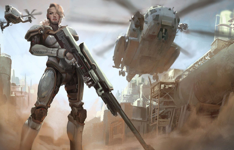 Photo wallpaper girl, gun, fantasy, soldier, weapon, Warrior, helicopter, blonde, digital art, rifle, artwork, fantasy art, armored, …