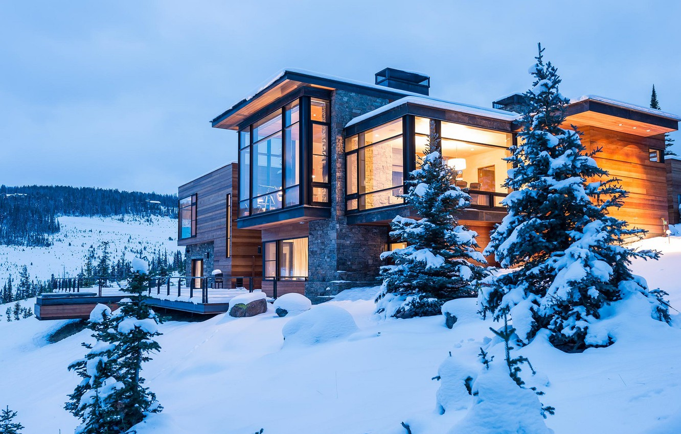 Photo wallpaper winter, comfort, house, style, stylish, the evening, house, cottage, winter, snow, tree, evening, cozy