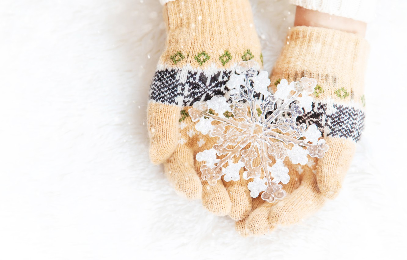 Photo wallpaper winter, snow, love, snowflake, winter, mittens, snow, hands, snowflake