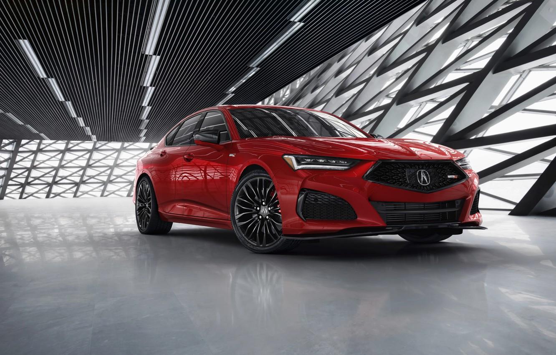 Photo wallpaper red, sedan, Type S, Acura, TLX, four-door, 2021