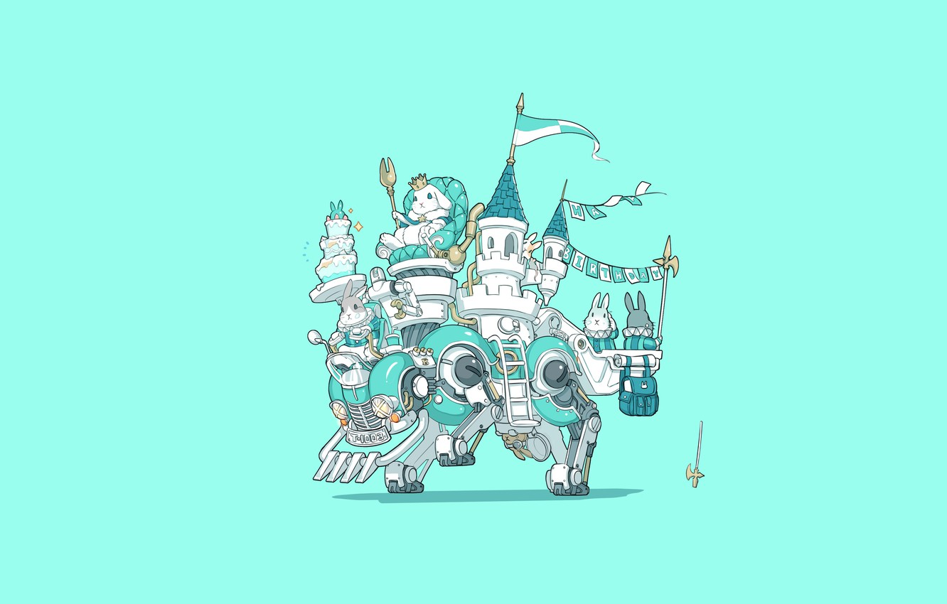 Photo wallpaper Art, Machine, Castle, Illustration, Minimalism, Characters, King, Bunny, Bunnies, Ren Wei Pan, Happy birthday to …
