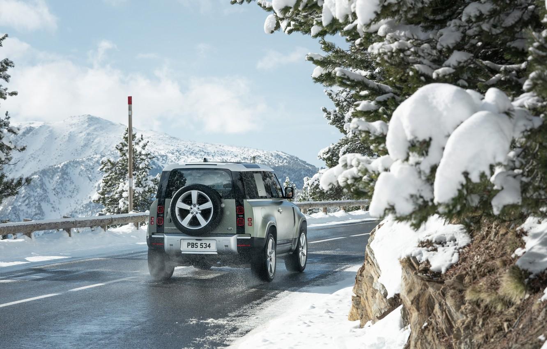Photo wallpaper snow, Land Rover, snow, Defender, Land Rover Defender, Land Rover Defender 90 D240 SE, 90 …