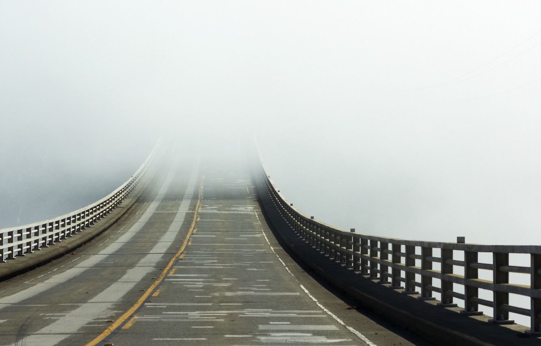 Photo wallpaper road, bridge, fog