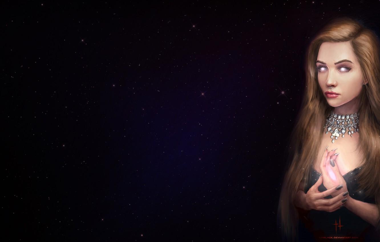 Photo wallpaper Girl, Figure, Stars, Eyes, Piercing, Art, Art, Evi, madeinkipish, by Alexander Linblack, Alexander Linblack