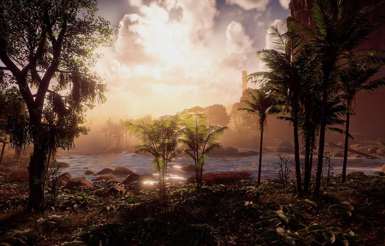Photo wallpaper landscape, river, jungle, exclusive, Playstation 4, Guerrilla Games, Horizon Zero Dawn