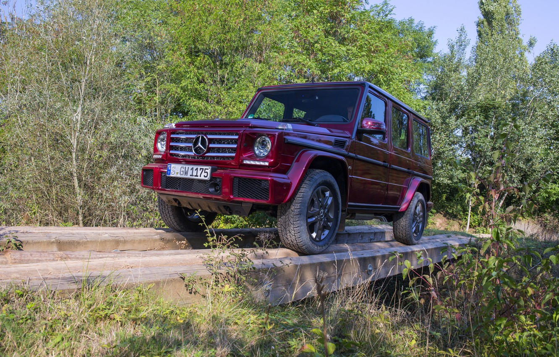 Photo wallpaper Mercedes-Benz, SUV, logs, G500, G-Class, 2015, G 500, V8 Biturbo