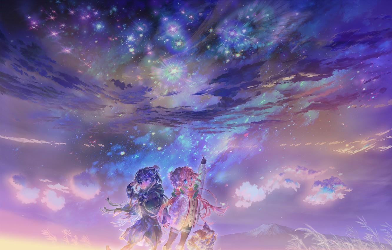 Photo wallpaper anime, art, (王晖) Melissa Hui Wang, Yura Camp   Rin + Nadeshiko + Chatterbox Was