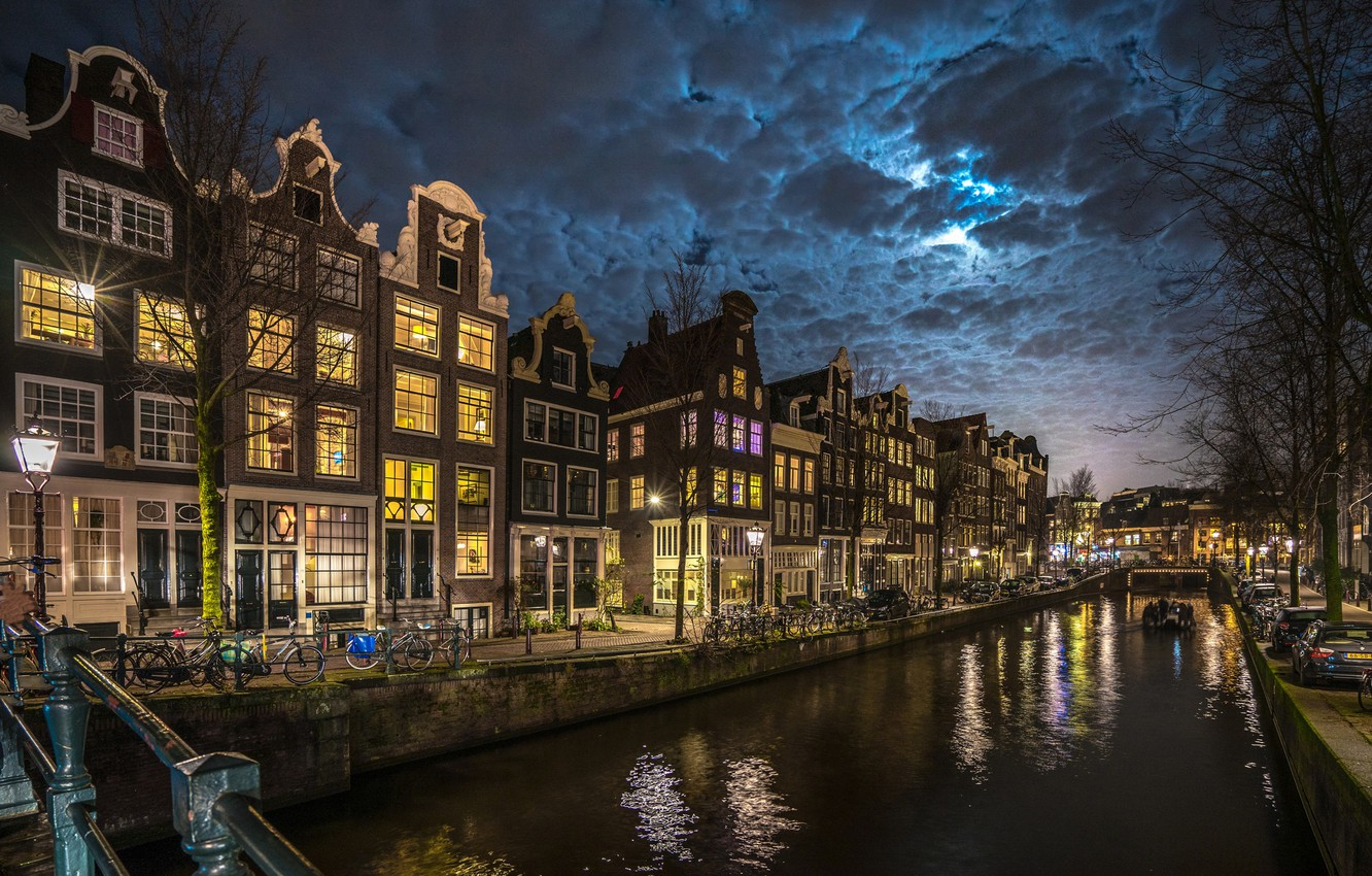 Photo wallpaper clouds, night, the city, home, lighting, Amsterdam, lights, channel, Netherlands, promenade, bikes, Holland