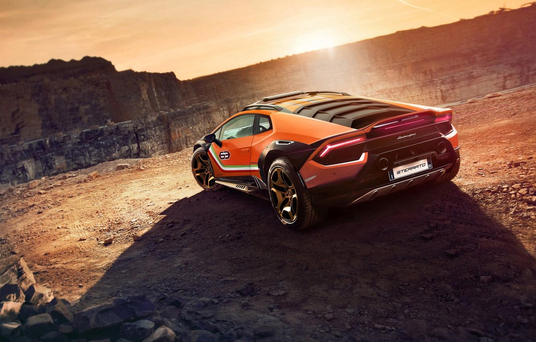Photo wallpaper the sun, Lamborghini, concept, sports car, Huracan, Dirt