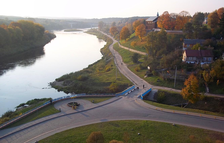 Photo wallpaper autumn, Belarus, Grodno, Neman