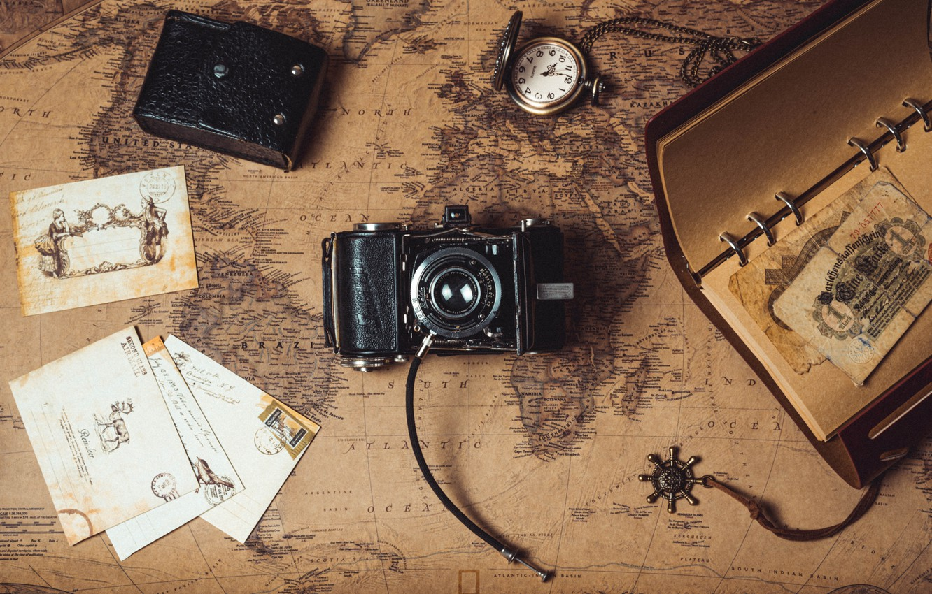 Photo wallpaper watch, map, money, the camera, Notepad, letters