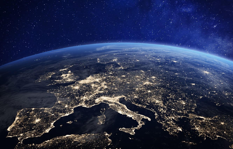 Photo wallpaper lights, Europe, planet earth