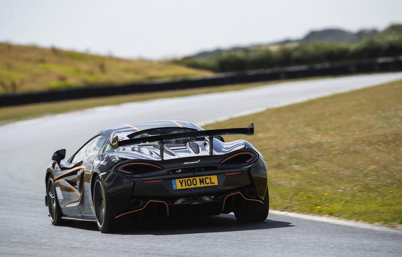 Photo wallpaper black, coupe, McLaren, turn, track, 2020, V8 twin-turbo, 620R, 620 HP, 3.8 L.