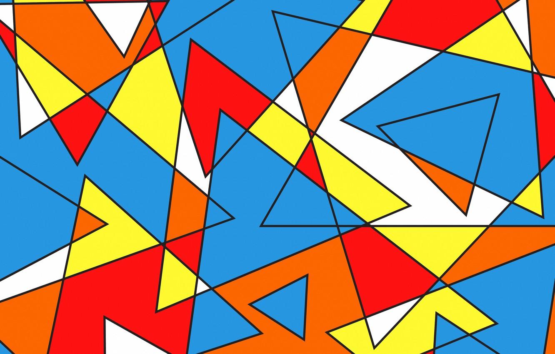 Photo wallpaper line, triangles, colorful, figure