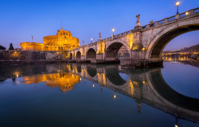 Photo wallpaper bridge, lights, river, the evening, Rome, Italy, The Tiber, Ponte Sant'angelo