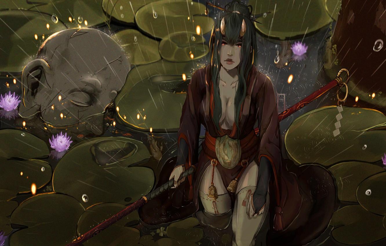 Photo wallpaper Girl, Japan, Rain, Asian, Warrior, Head, Asia, Swamp, Japan, Fantasy, Asian, Warrior, Fiction, Rain, Samurai, …