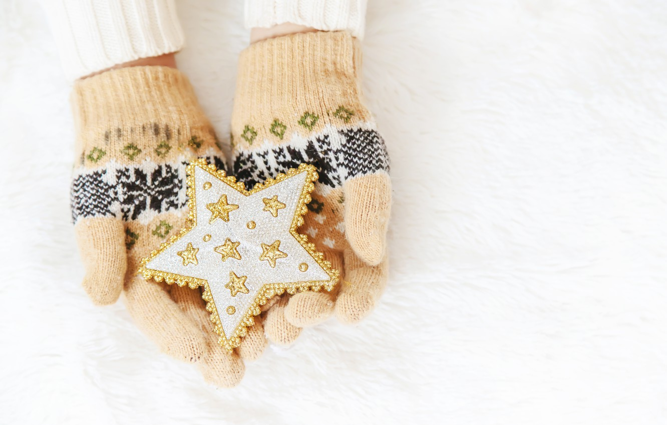 Photo wallpaper winter, snow, snowflakes, star, love, christmas, star, pink, winter, mittens, snow, hands, snowflakes