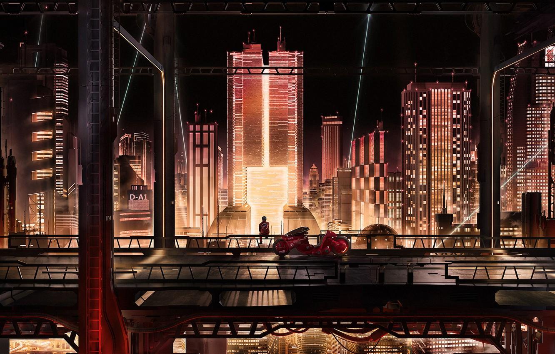 Photo wallpaper City, Bike, Akira, Akira, Cyberpunk