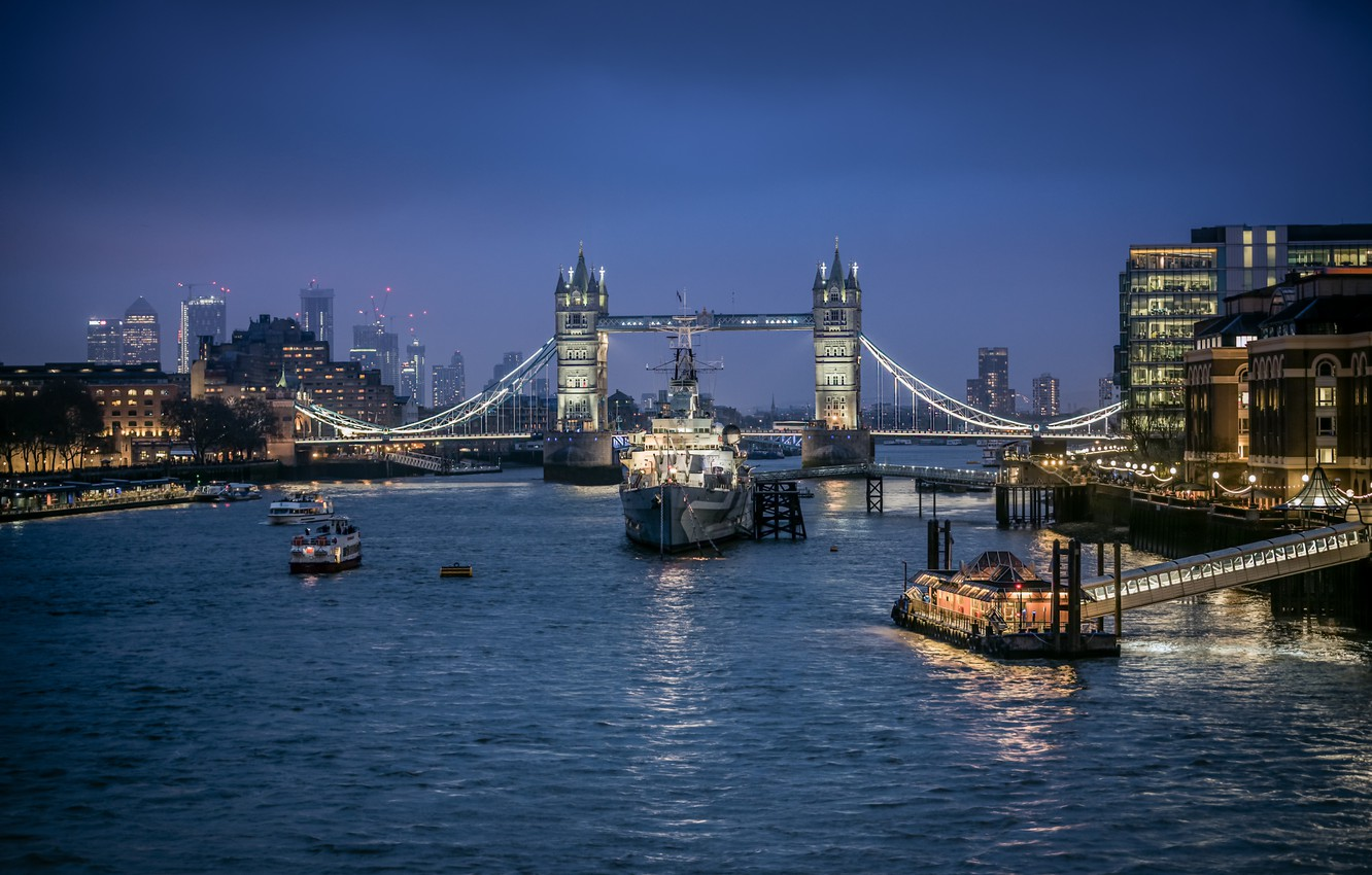 Photo wallpaper bridge, lights, river, England, London, ships, Thames, Tower bridge