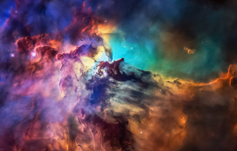 Photo wallpaper space, stars, paint, nebula