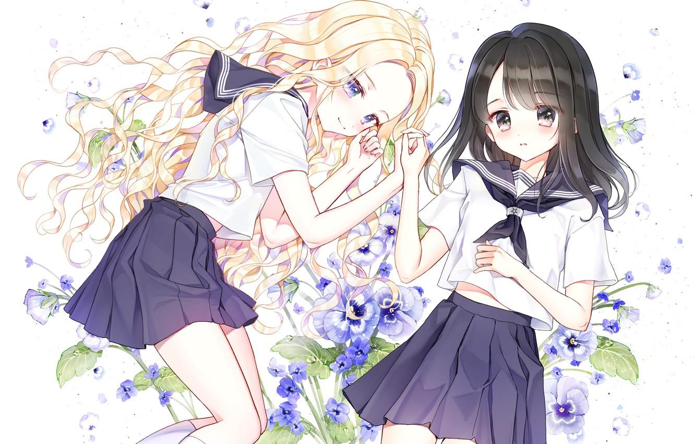 Photo wallpaper flowers, girls, anime