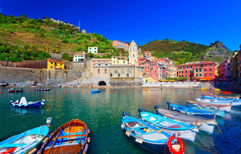 Photo wallpaper sea, landscape, mountains, the city, home, boats, Italy, Vernazza, Vernazza, Liguria