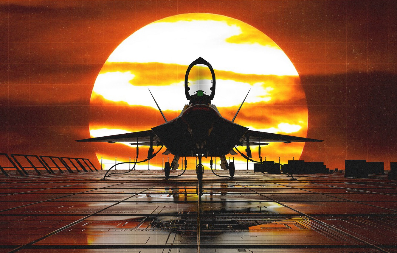 Wallpaper Sunset The Sun The Plane Fighter F 22 Raptor