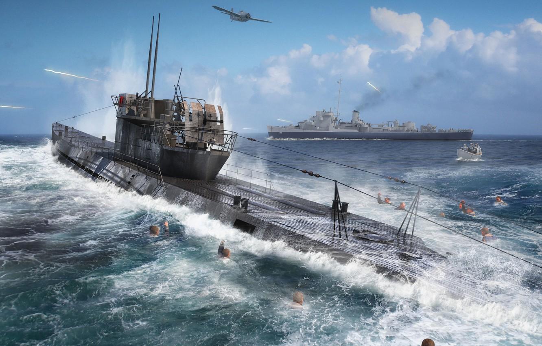 Photo wallpaper Submarine, Submarine, U-Boot, Navy, U-505, U-Boot type IXC
