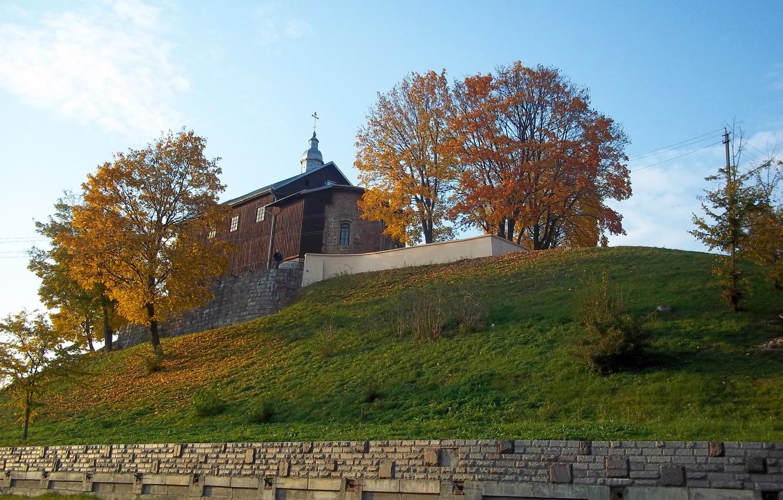 Photo wallpaper Church, Belarus, Grodno, Neman