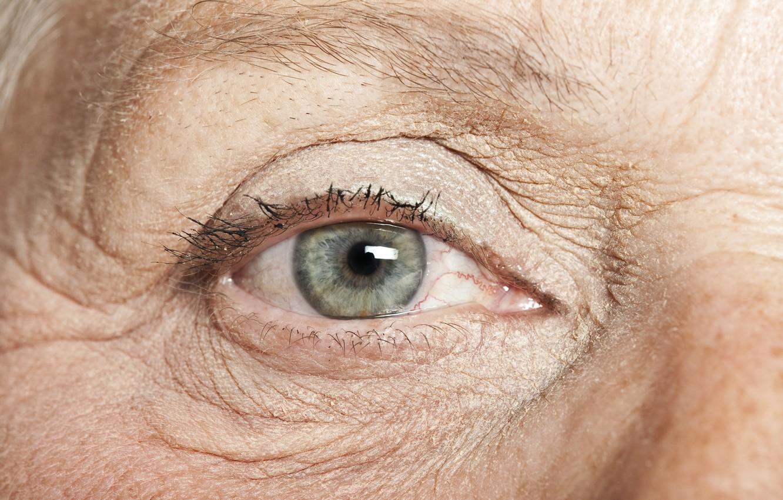 Photo wallpaper eye, wrinkles, grandmother, elderly
