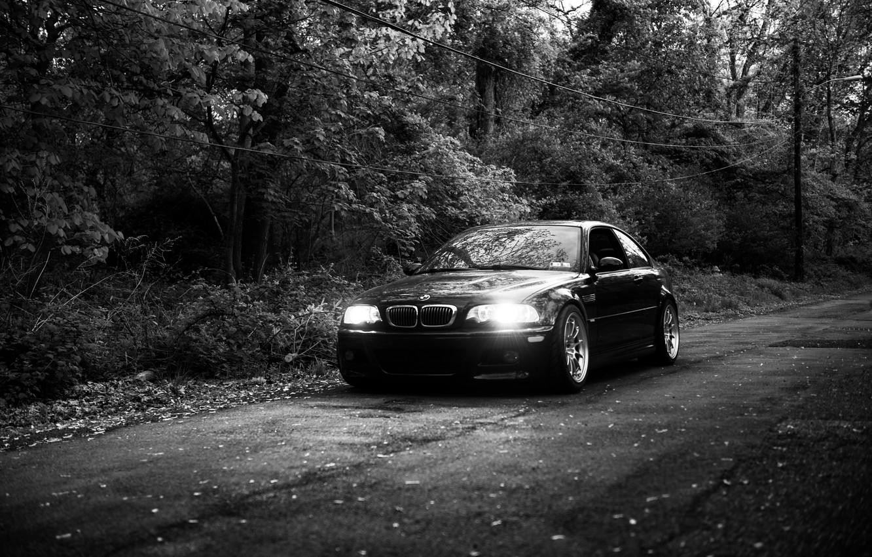 Photo wallpaper black&white, bmw, e46