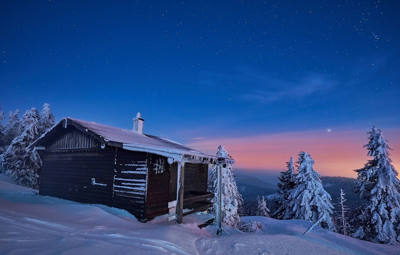 Photo wallpaper winter, the sky, snow, trees, landscape, nature, house, stars, the evening, ate