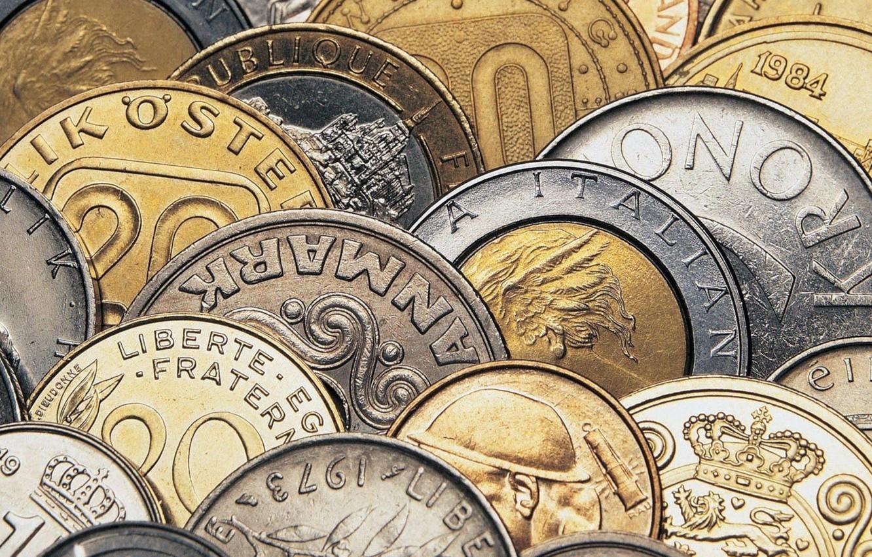 Photo wallpaper metal, money, coins
