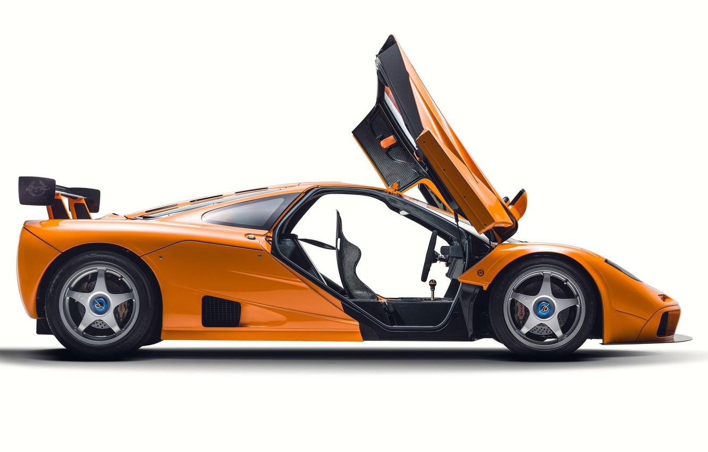 Photo wallpaper Orange, Door, Supercar, Side view, 1995, McLaren F1 LM