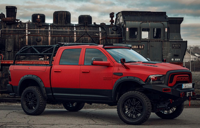 Photo wallpaper red, tuning, Dodge, pickup, 1500, Ram, Crew Cab, Limited, JB Car Design