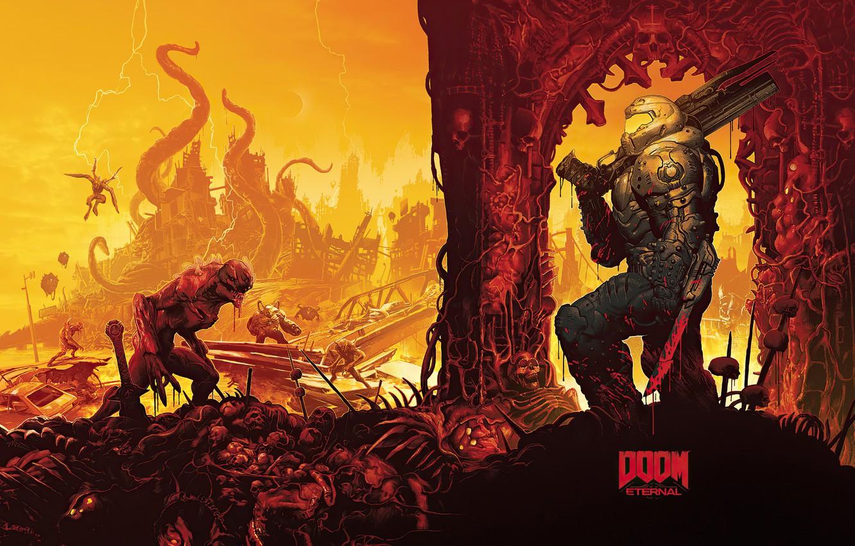 Photo wallpaper soldiers, monsters, DOOM Eternal