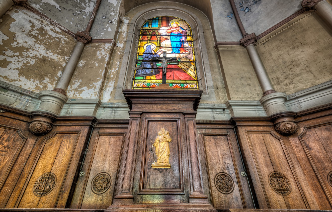Photo wallpaper interior, stained glass, temple