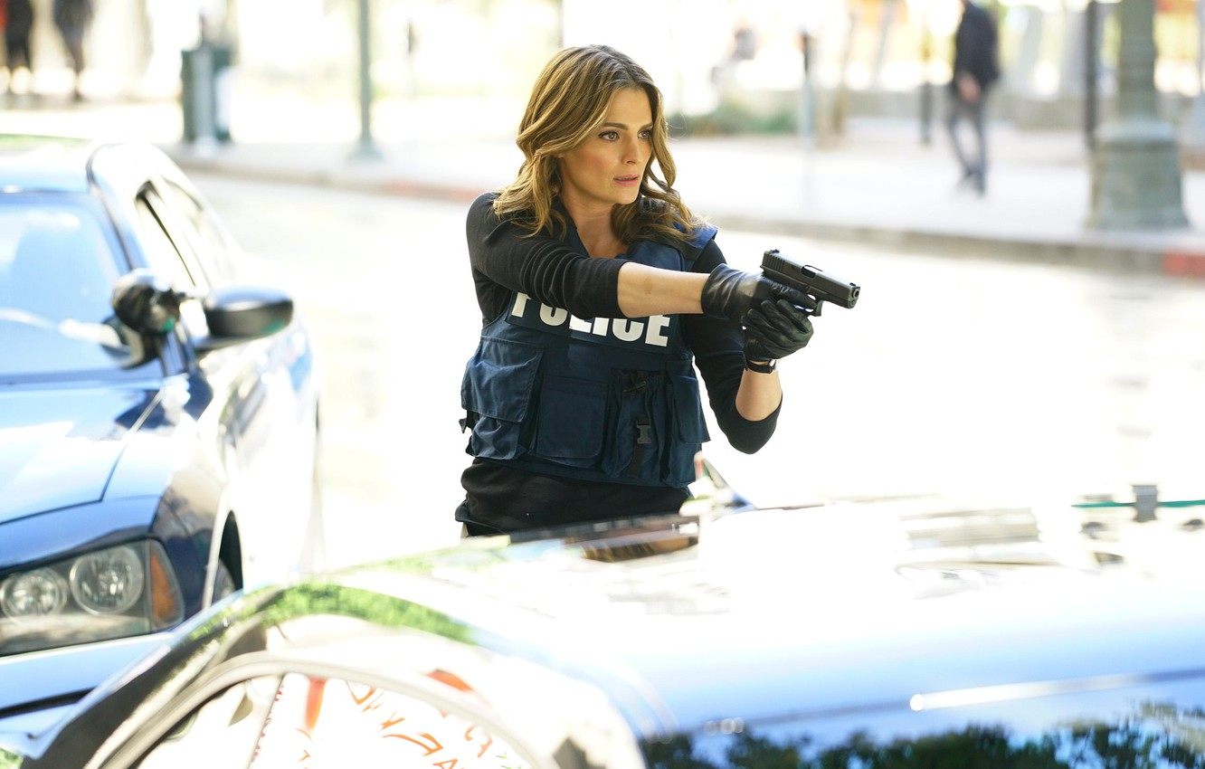 Photo wallpaper pose, weapons, the series, Castle, Stana Katic, Castle, Stana Katic, Kate Beckett, Kate Becket
