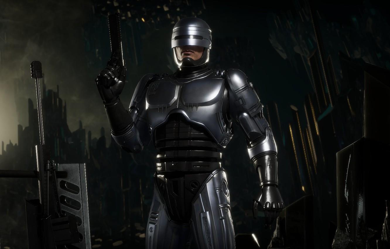 Photo wallpaper gun, weapons, gun, cyborg, Robocop, cyborg, Robocop, Mortal Kombat 11, MK 11, Mortal Kombat 11, …