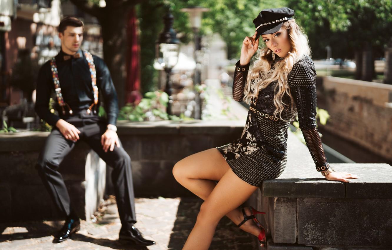 Photo wallpaper pose, style, feet, model, dress, guy, cap, bokeh, Olya Alessandra, Andreas-Joachim Lins