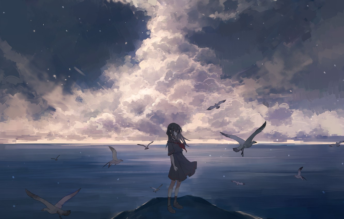 Photo wallpaper sea, the sky, clouds, clouds, the wind, coast, seagulls, girl