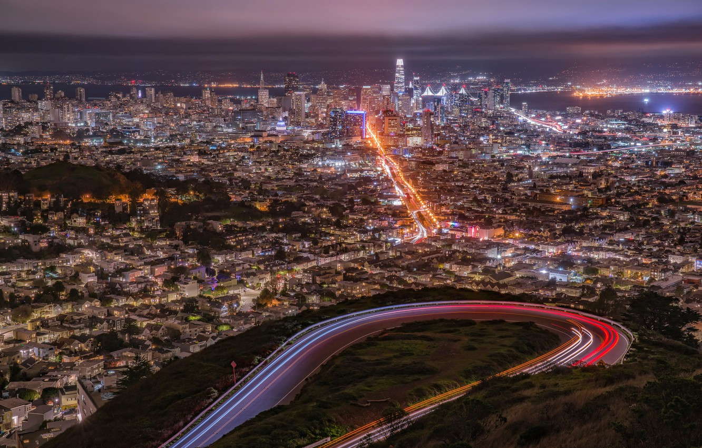 Photo wallpaper the city, lights, San Francisco