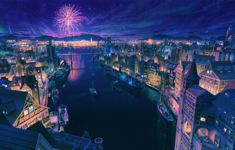 Photo wallpaper Home, Night, The city, Stars, Salute, Boats, City, Ships, Beautiful, Art, Stars, Art, Night, Fireworks, …