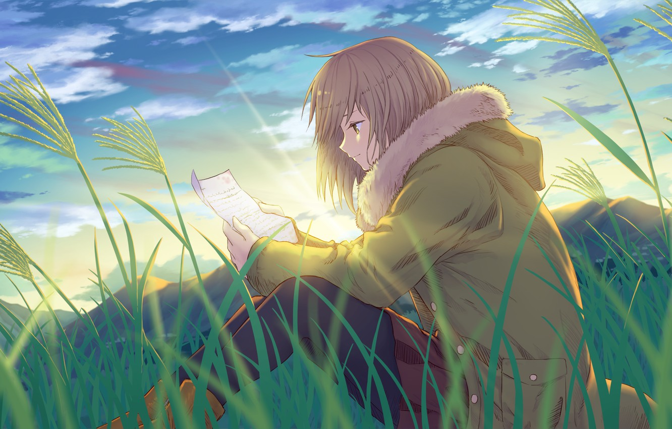Photo wallpaper field, grass, letter, girl