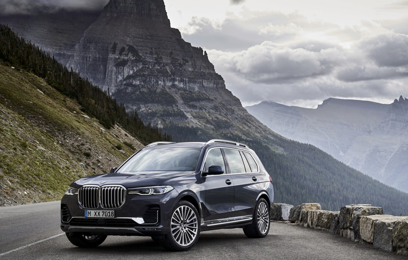 Photo wallpaper view, BMW, slope, mountain road, 2018, crossover, SUV, 2019, BMW X7, X7, G07