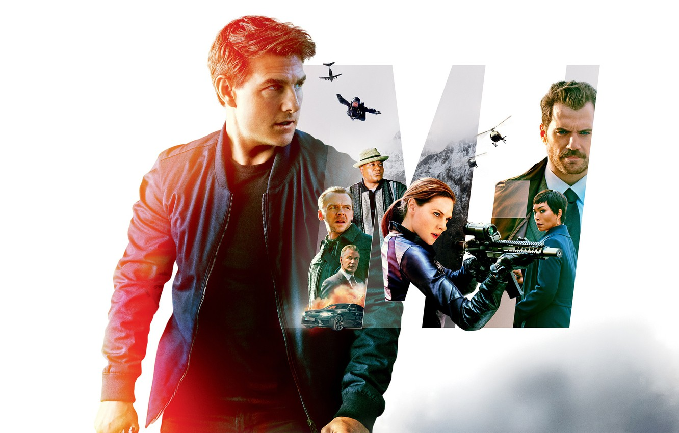 Photo wallpaper collage, white background, action, poster, Tom Cruise, characters, Tom Cruise, Simon Pegg, Henry Cavill, Henry …