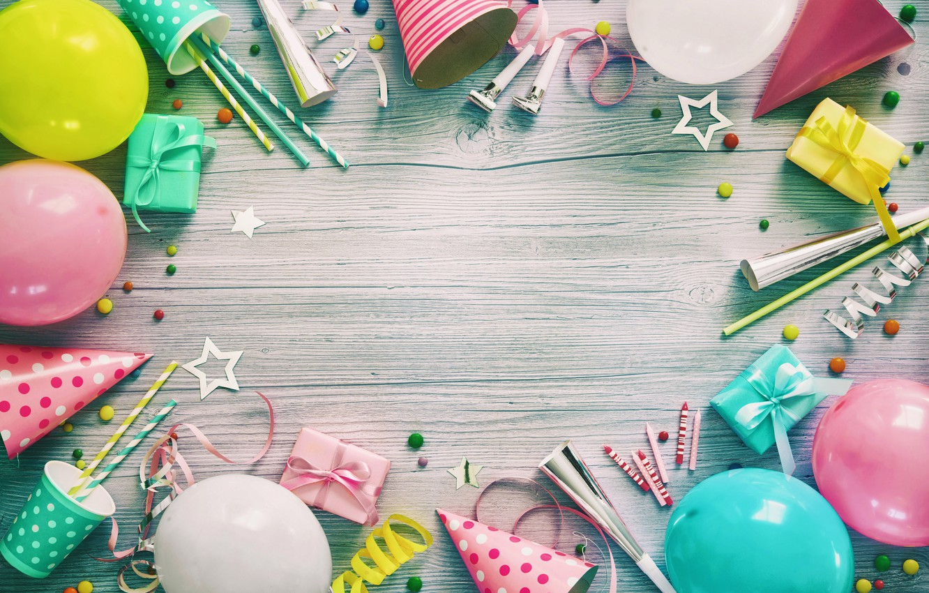 Photo wallpaper birthday, balls, gifts, wood, composition
