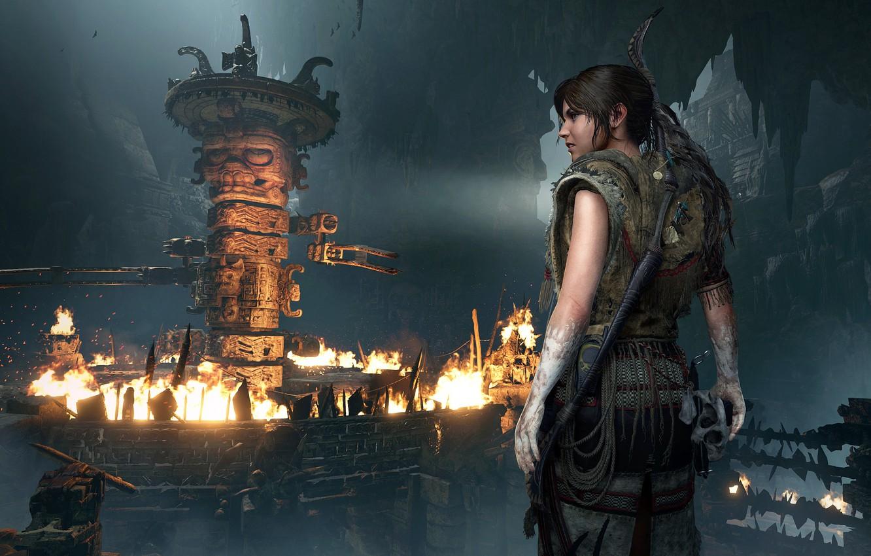 Photo wallpaper fire, hair, Tomb Raider, Lara Croft, traps, Shadow of the Tomb Raider, grobnica