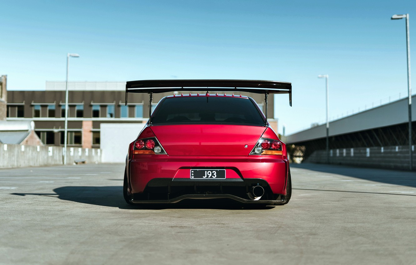 Photo wallpaper Mitsubishi, Lancer, Red, Car, Widebody, Evolution IX, Evo 9